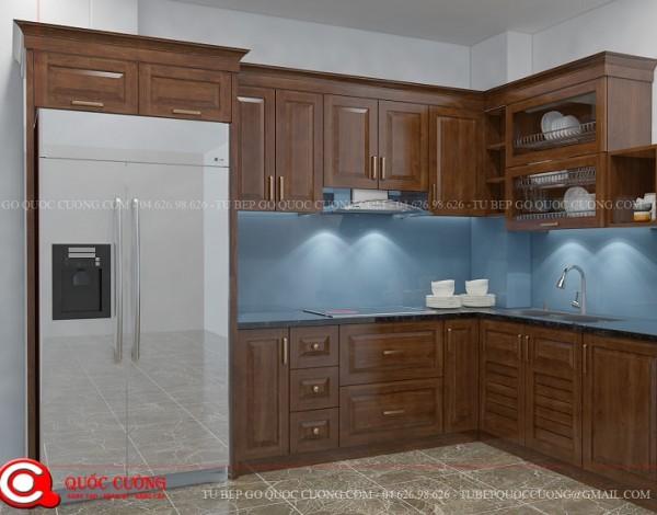 Tủ bếp gỗ xoan đào XD 035