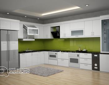 Tủ bếp Acrylic hiện đại với kiểu chữ L