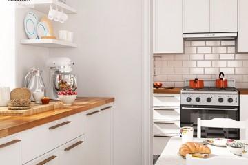 Sự kết hợp hoàn mĩ tủ bếp gỗ Xoan Đào và gỗ Acrylic.