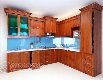 Tủ bếp xoan đào XDI05 gồm các phụ kiện chức năng như chậu rửa, kệ gia vị, giá inox đa năng, trạn bát và thiết bị bếp như bếp gas, lò nướng, thiết bị hút mùi đều được nhập khẩu từ các thương hiệu như Blum, Abber, Faster, Malocca, Hafele…