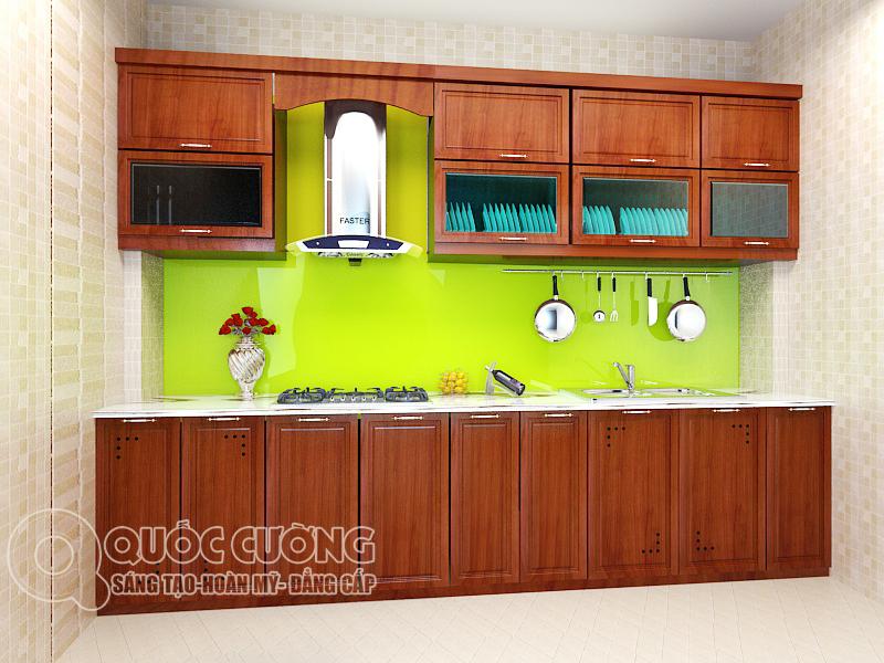 Tủ bếp gỗ Xoan Đào hình chữ I