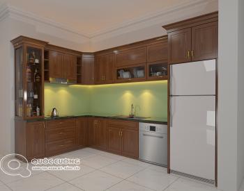 Tủ bếp gỗ xoan đào XD 04 có các phụ kiện chức năng như chậu rửa, trạn bát và thiết bị bếp như bếp từ, lò nướng đều được nhập khẩu từ những thương hiệu nổi tiếng như Blum, EuroGold, Hafele, Abber, Malocca…