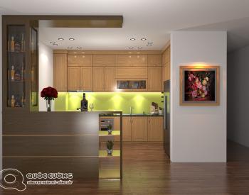 Tủ bếp gỗ Sồi Nga QC-23 là mẫu tủ bếp gỗ tự nhiên thân thiện với môi trườngvà đạt tính thẩm mỹ cao bởi tông màu vàng nhạt tịnh tế cùng các đường vân gỗ đặc trưng.