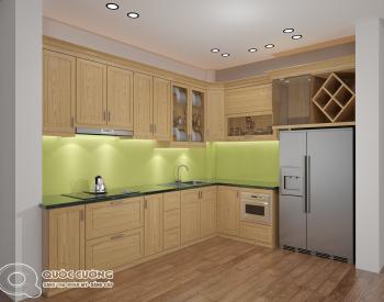 Tủ bếp gỗ Sồi Nga QC11 là mẫu tủ bếp gỗ tự nhiên nhập khẩu Châu Âu và rất thân thiện với môi trường, đồng thời sản phẩm được ưa thích sử dụng bởi đặc tính nhẹ và kết cấu chắc chắn của chất liệu gỗ sồi Nga.