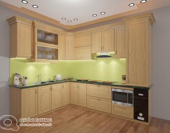 Tủ bếp gỗ Sồi Nga QC-16 là mẫu tủ bếp gỗ tự nhiên nhập khẩu Châu Âu và có độ cứng, độ bền cao bởi kết cấu khá chắc chắn của gỗ Sồi Nga.