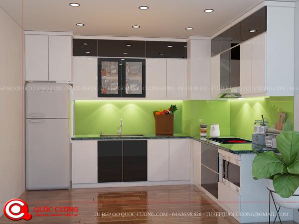 Tủ bếp gỗ Laminate L08 được là mẫu tủ bếp gỗ công nghiệp có bền đẹp và khả năng chịu lực, chịu nhiệt tốt.