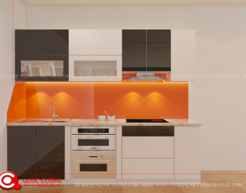 Tủ bếp gỗ Laminate L02 là mẫu tủ bếp gỗ công nghiệp với bề mặt laminate bóng gương sáng đẹp và khả năng chịu lực, chịu nhiệt tốt. Bên cạnh đó, mặt bàn đá và kính cường lực ốp tủ đạt tính thẩm mỹ cao và dễ dàng lau chùi khi sử dụng.