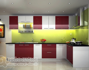 Tủ bếp Laminate L05 được Tủ Bếp Quốc Cường thiết kế với kích thước tiêu chuẩn cho tủ bếp trên là 350x750 và tủ bếp dưới là 550x810.