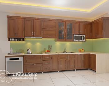 Phụ kiện của tủ bếp gỗ xoan đào XD 017 gồm các thiết bị nhà bếp và phụ kiện chức năng như đèn led chiếu sáng, bếp từ, chậu rửa, lò vi sóng, máy hút mùi được nhập khẩu từ các thương hiệu nổi tiếng nhưBlum, EuroGold, Faster, Abber…