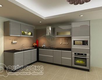 Tủ bếp Acrylic Quốc CườngAR 42 Mặt kínhốp cường lực hồng nhạtlà màu sắc nhẹ nhàng, ấm áp, tạo độ tương phản, đồng giúp vệ sinh dễ dàng.