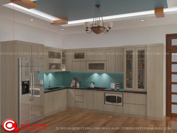 Tủ bếp laminate L03 có thiết kế sang trọng, hiện đại và là một trong những mẫu tủ được nhiều gia đình nhất lựa chọn hiện nay, đặc biệt là trong các căn hộ chung cư cao cấp, đồng thời thiết kế thông minh của tủ bếp giúp gia chủ sử dụng được hết công năng của nó.