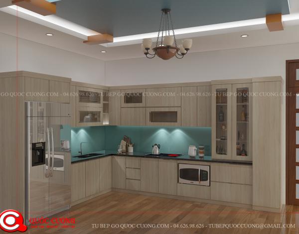 Tủ bếp gỗ Laminate Quốc Cường đẹp nhất Tu-bep-go-Laminate-L03-600x470