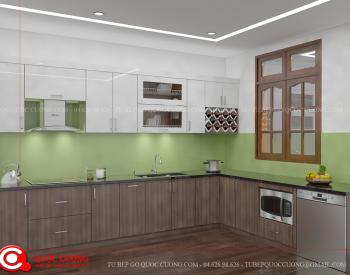 Tủ bếp laminate L04 có thiết kế thông minh, hiện đại và là mẫu tủ bếp được nhiều gia đình lựa chọn hiện nay. Thiết kế tiết kiệm diện tích cùng với cách bố trí hợp lý giúp tủ bếp đáp ứng được những yêu cầu về tiện nghi và hiện đại của người dùng.