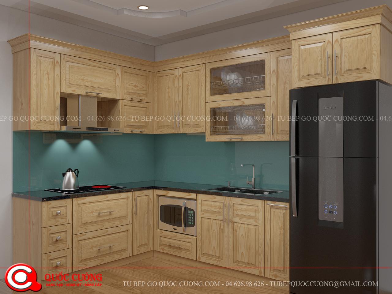 Tủ bếp Sồi Nga chữL phù hợp với nhiều không gian từ rộng đến hẹp.