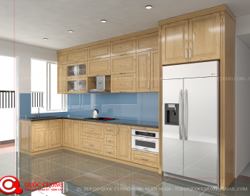Tủ bếp gỗ Sồi Nga QC13 là mẫu tủ bếp gỗ tự nhiên có các đường vân gỗ đẹp và màu sắc hài hòa giúp tạo nên sự sang trọng, lịch lãm và hiện đại cho ngôi nhà.