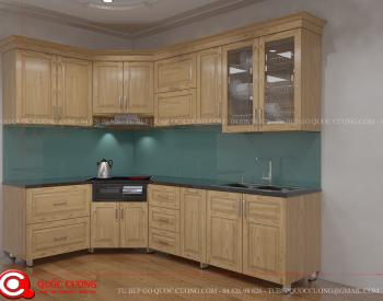 Tủ bếp gỗ Sồi Nga QC-20 là mẫu tủ bếp gỗ tự nhiên được nhập khẩu từ Châu Âu có độ cứng, độ bền và tính thẩm mỹ cao.