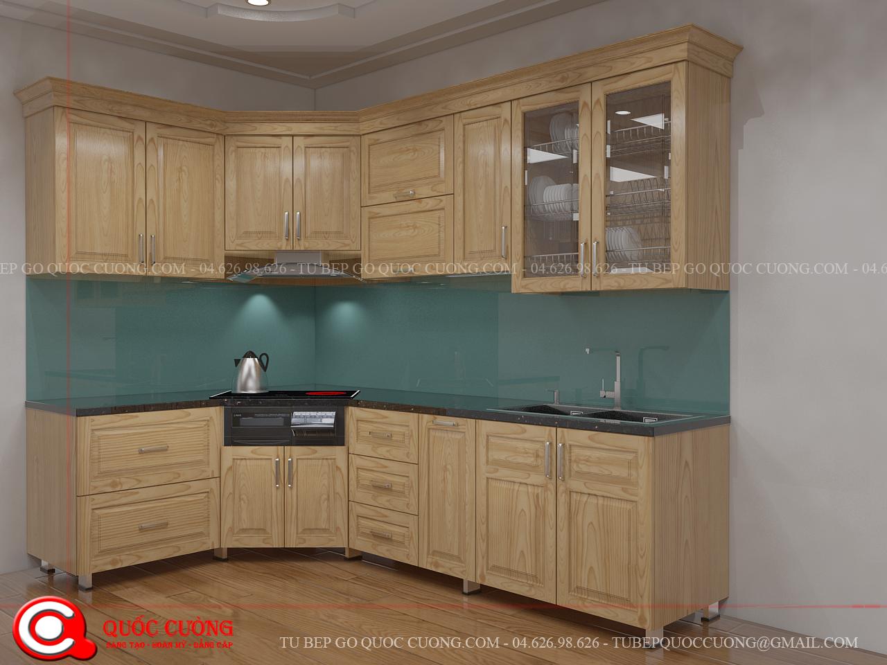 Tủ bếp gỗ giá bao nhiêu Tủ bếp Sồi Nga giá 3.500.000 / mét dài với thiết kế chữ L phù hợp cho không gian bếp nhỏ phù hợp với hộ gia đình nhỏ, chung cư