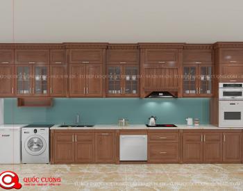 Tủ bếp gỗ xoan đào XD 09 có các phụ kiện chức năng như giá inox đa năng, đèn led chiếu sáng, chậu rửa, trạn bát và thiết bị bếp như bếp ga, thiết bị hút mùi đều nhập khẩu của các thương hiệu như Blum, Hafele, Abber, Malocca, EuroGold…