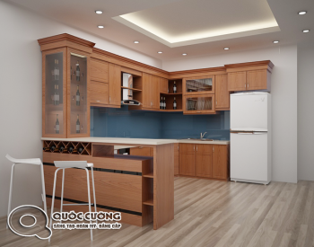 Những thiết bị nhà bếp và phụ kiện chức năng của tủ bếp gỗ xoan đào XD 014 được nhập khẩu từ các thương hiệu nổi tiếng EuroGold, Malocca, Faster, Abber…