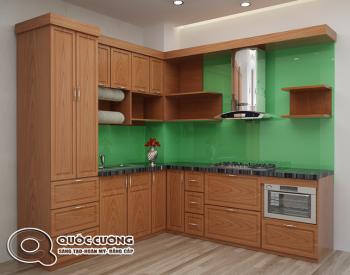 Những phụ kiện tủ bếp xoan đào Quốc Cường XD 01 kèm theo các thiết bị nhà bếp như: bếp ga, chậu rửa, kệ đựng chén, máy hút mùi, lò nướng được nhập khẩu từ những thương hiệu nổi tiếng như Faster, Abber, Malocca…