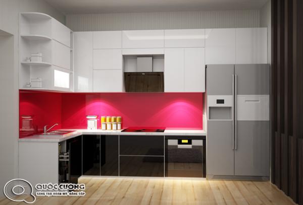 Tủ bếp Acrylic AR 40 Mặt kính ốp cường lực dày 8 milimet với màu đỏ tươimang lại sự ấm cúng cho căn bếp, đồng thời giúp vệ sinh dễ dàng.