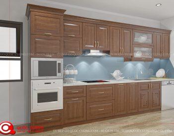 Tủ bếp gỗ xoan đào Inox 201 XDI08 có ưu điểm vượt trội chính là khả năng chịu nhiệt, chịu lực và chống ẩm rất tốt. Đồng thời, tủ bếp có khả năng hạn chế tình trạng cong vênh, nứt nẻ.