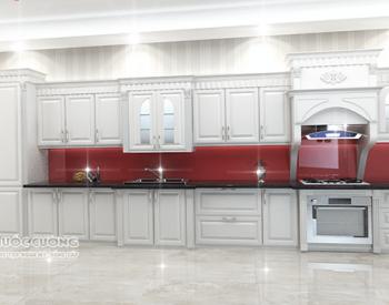Tủ bếp tân cổ điển TCD01 có độ bền cao bởi chất liệu gỗ tự nhiên đã được tẩm sấy trên dây chuyền công nghệ hiện đại đạt chuẩn.