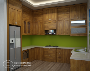 Tủ bếp TCD07 gồm các phụ kiện chức năng như thùng gạo, trạn bát, kệ gia vị giá inox đa năng và thiết bị bếp như bếp từ, thiết bị hút mùi, lò nướng đều được nhập khẩu từ các thương hiệu Faster, Abber, Blum, Hafele, EuroGold …