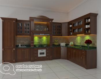 Tủ bếp tân cổ điển TCD04 gồm các phụ kiện kèm theo như chậu rửa, trạn bát, giá inox, thùng gạo thiết bị bếp như bếp từ, lò nướng, thiết bị hút mùi đều là sản phẩm của thương hiệu Faster, Abber, , Blum, EuroGold …