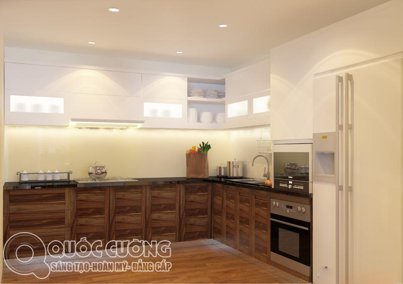 Tủ bếp OC06 các phụ kiện tủ bếp cũng như các thiết bị bếp đều nhập khẩu từ thương hiệu nổi tiếng như Hafele, Blum, Molocca, Abber…