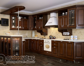 Tủ bếp gỗ óc chó OC08 là mẫu tủ bếp gỗ tự nhiên cao cấp với chất liệu gỗ óc chó được nhập khẩu có độ cứng và độ bền cao.