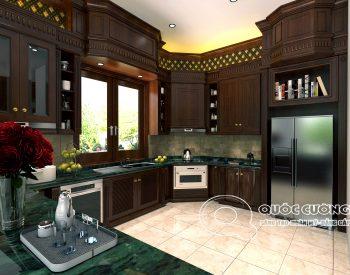 Tủ bếp tân cổ điển TCD02 được thiết kế theo kiểu dáng hình chữ U có thêm phần để tủ lạnh giúp tận dụng tối đa các góc chết trong căn phòng để không gian trở nên rộng rãi hơn.