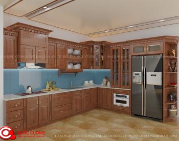 Tủ bếp tân cổ điển TCD05 là mẫu tủ bếp gỗ tự nhiên quý hiếm có đường vân gỗ tự nhiên và rất thân thiện với môi trường. Đồng thời chất liệu gỗ cứng có độ bền và khả năng chịu lực rất tốt.