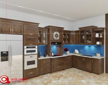 Tủ bếp tân cổ điển TCD03 có thiết kế thông minh, hiện đại cùng chất liệu gỗ óc chó có tông màu chocolate đậm sắc kết hợp các đường vân trang nhã giúp tủ bếp trở nên nổi bật hơn.