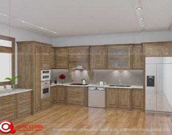 Tủ bếp tân cổ điển TCD06 có thiết kế thông minh, hiện đại cùng chất liệu gỗ óc chó có các đường vân trang nhã được sơn PU chống ngả màu giúp tủ bếp tinh tế và sang trọng hơn.