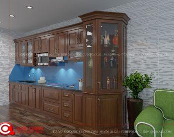 Tủ bếp xoan đào XDI07 có các phụ kiện chức năng và thiết bị bếp được nhập khẩu từ các thương hiệu Abber, Faster, EuroGold, Blum, Hafele, Malocca…