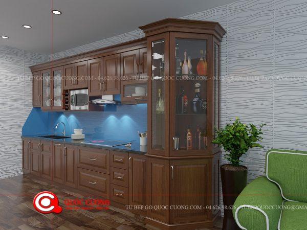 Tủ bếp xoan đào Inox