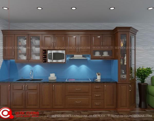 Tủ bếp gỗ Xoan Đào Inox chữ L 2 phong cách đơn giản