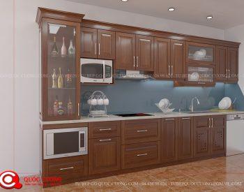 Tủ bếp xoan đào inox 304 XD 17 đượcTủ Bếp Quốc Cường thiết kế theo xu hướng, phong cách thiết kế đơn giản dễ dàng phù hợp với các không gian nội thất hiện đại ngày nay.