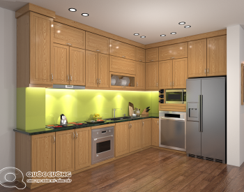 Tủ bếp QC -30 có các phụ kiện tủ bếp như chậu rửa, trạn bát, đèn led chiếu sáng và thiết bị bếp đều nhập khẩu của các thương hiệu như Blum, Hafele, EuroGold, Malocca…