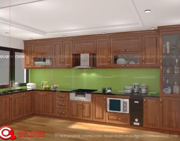Tủ bếp gỗ xoan đàoXD 030 hầu hết được Tủ Bếp Quốc Cường thiết kế theo xu hướng, phong cách thiết kế đơn giản dễ dàng phù hợp với các không gian nội thất hiện đại ngày nay.