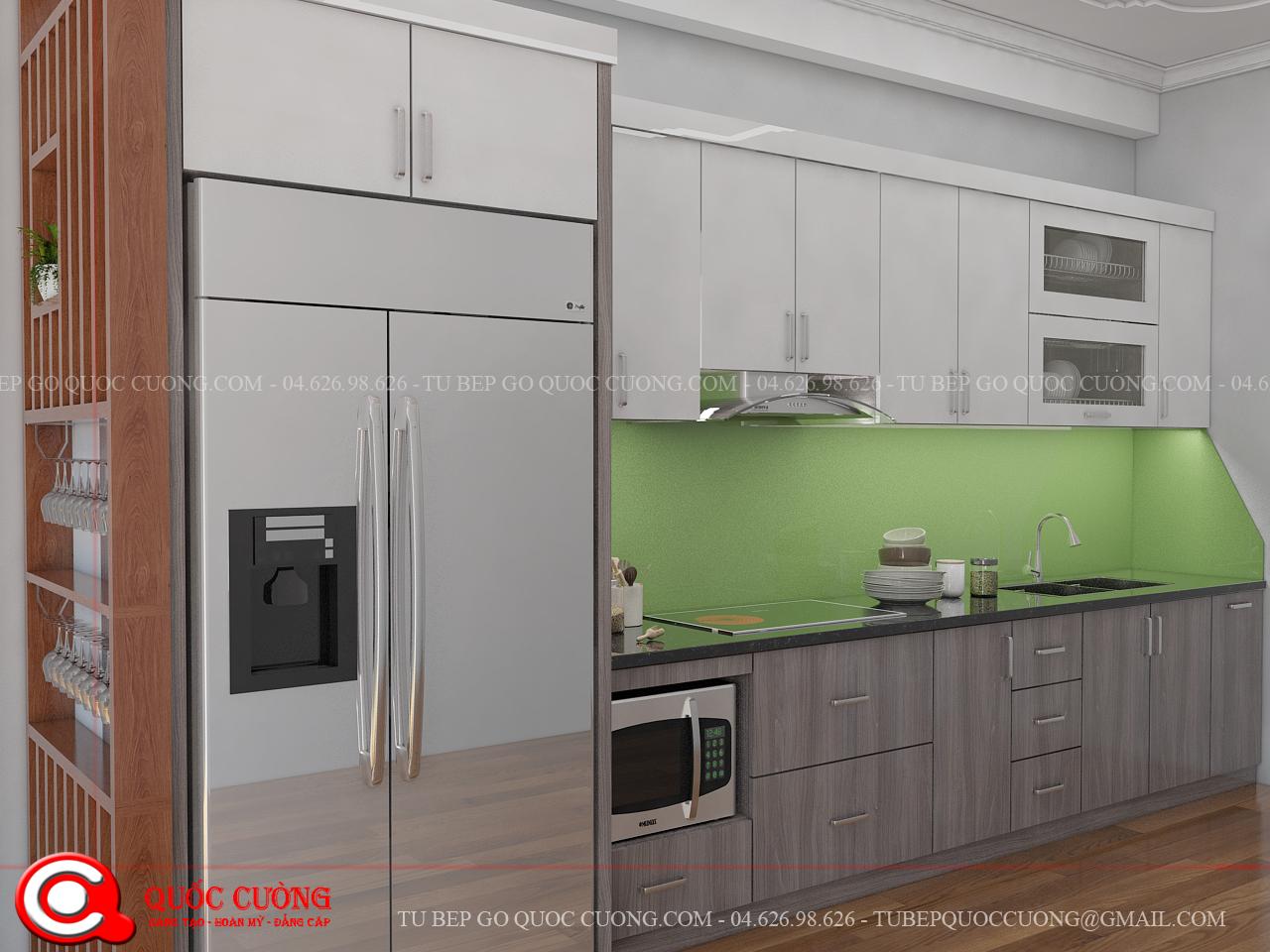 Tủ bếp gỗ Laminate L10 được là mẫu tủ bếp gỗ công nghiệp rất được ưa chuộng hiện nay bởi những đặc tính và ưu điểm vượt trội như tính thẩm mỹ cao, khả năng chịu lực, chịu nhiệt tốt.