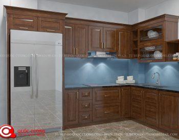 Tủ bếp gỗ xoan đào XD 035 có thêm các phụ kiện chức năng như chậu rửa, trạn bát và thiết bị bếp đều được nhập khẩu từ những thương hiệu nổi tiếng như Blum. Hafele, Abber, Malocca…