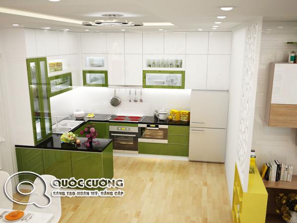 Tủ bếp gỗ Acrylic AR 46 có màu xanh lá mạ chủ đạo tạo không gian tươi sáng, ấn tượng và ấm cúng cho căn bếp.