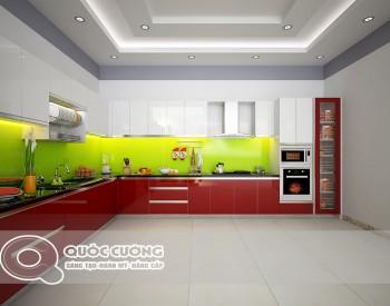 Tủ bếp Acrylic AR 37 Mặt kínhốp kim sa vàng chanhlà màu sắc nhẹ nhàng, trẻ trung, đồng giúp vệ sinh dễ dàng.
