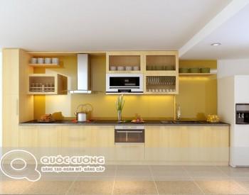 Tủ bếp gỗ Acrylic Quốc Cường AR 45 có sự kết hợp hài hòa giữa các phụ kiện tủ bếp như thiết bị bếp gồm bếp từ, máy hút mùi
