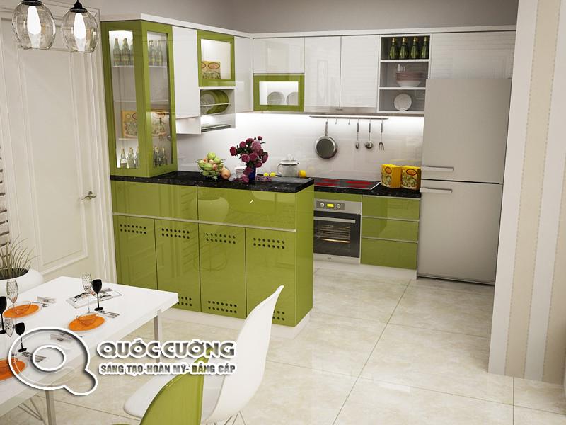 Tủ bếp Acrylic AR 39 mang phong cách trẻ trung của chất liệu Acrylic Quốc Cường. Ngoài ra, việc sử dụng thùng Inox 201 mang sự chắc chắn cũng như độ bền cao, chịu nước, chống mối mọt tốt cho tủ bếp.