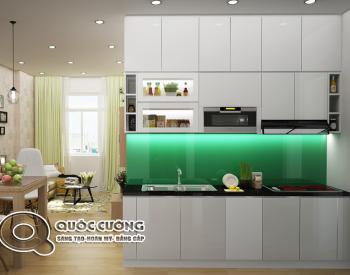 Tủ bếp Acrylic AR 25 Mặt kínhốp cường lực kim sa xanh dương mang lại sựtrẻ trung cũng như tạo điểm nhấn, đồng thời giúp vệ sinh dễ dàng.