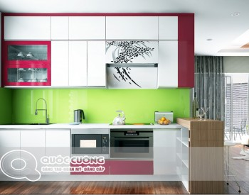 Tủ bếp Acrylic A23 có các phụ kiện chức năng như chậu rửa, giá inox, trạn bát được nhập khẩu từ thương hiệu như Hafele, EuroGold, Blum. Các thiết bị bếp như bếp từ và thiết bị hút mùi đều được nhập khẩu từ thương hiệu nổi tiếng như Malocca, Faster, Abber.