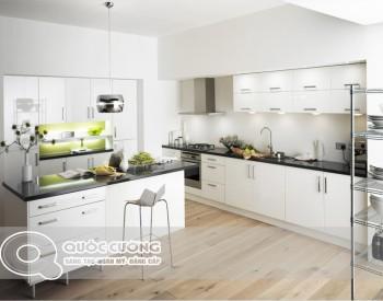 Tủ bếp Acrylic AR 48 Mang màu sắc chủ đạo là màu trắng mang đến sự hiện đại, trẻ trung.